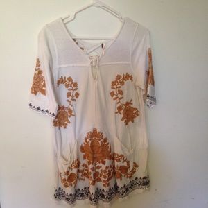 FREE PEOPLE White Embroidered Mini Dress